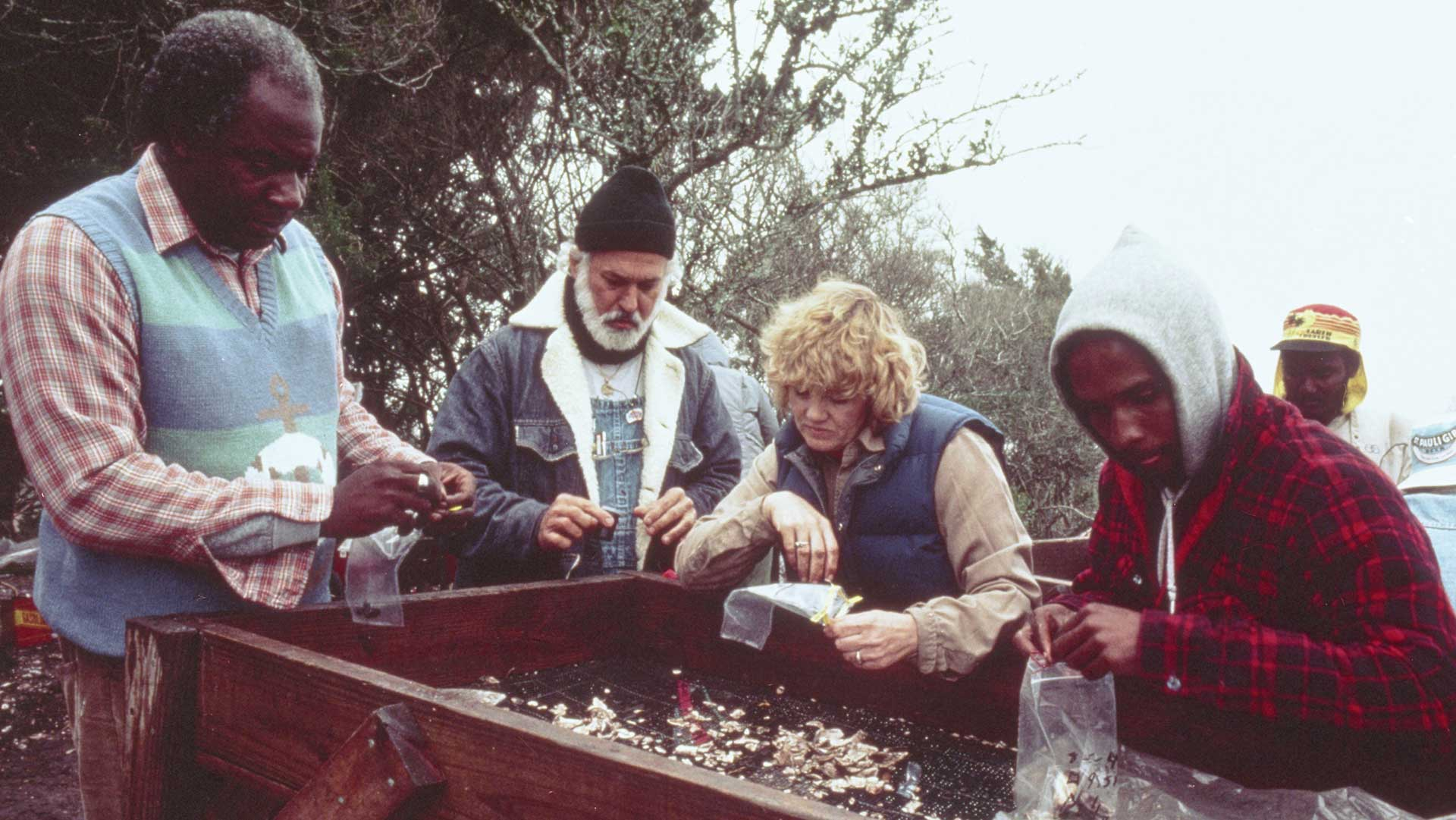 Archaeologists at Fort Mose recover artifacts from screened soil. Photo courtesy of Florida Museum of Natural History