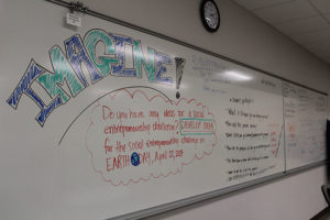 A Runway Program thought board at the ETI.
