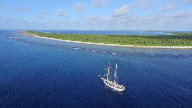 Photo of ship offshore Phoenix Islands