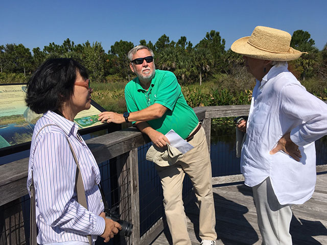 Photo shows Bill Mitsch and Mitsch and Dr. Li Zhang at Freedeom Park