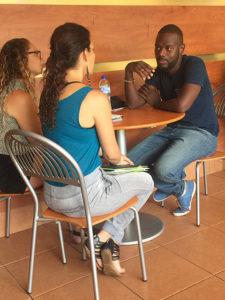 FGCU students interview Reigning Calypso Monarch Devon Seale in Trinidad, May 2016. Photo by Nicola Foote