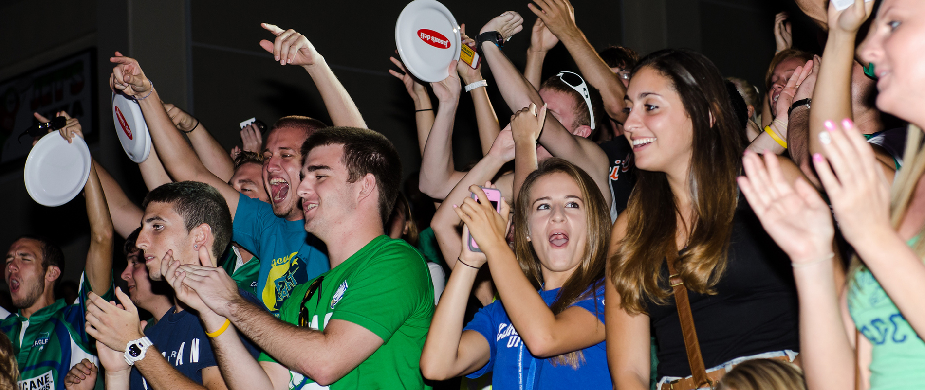 This is a photo of FGCU students celebrating
