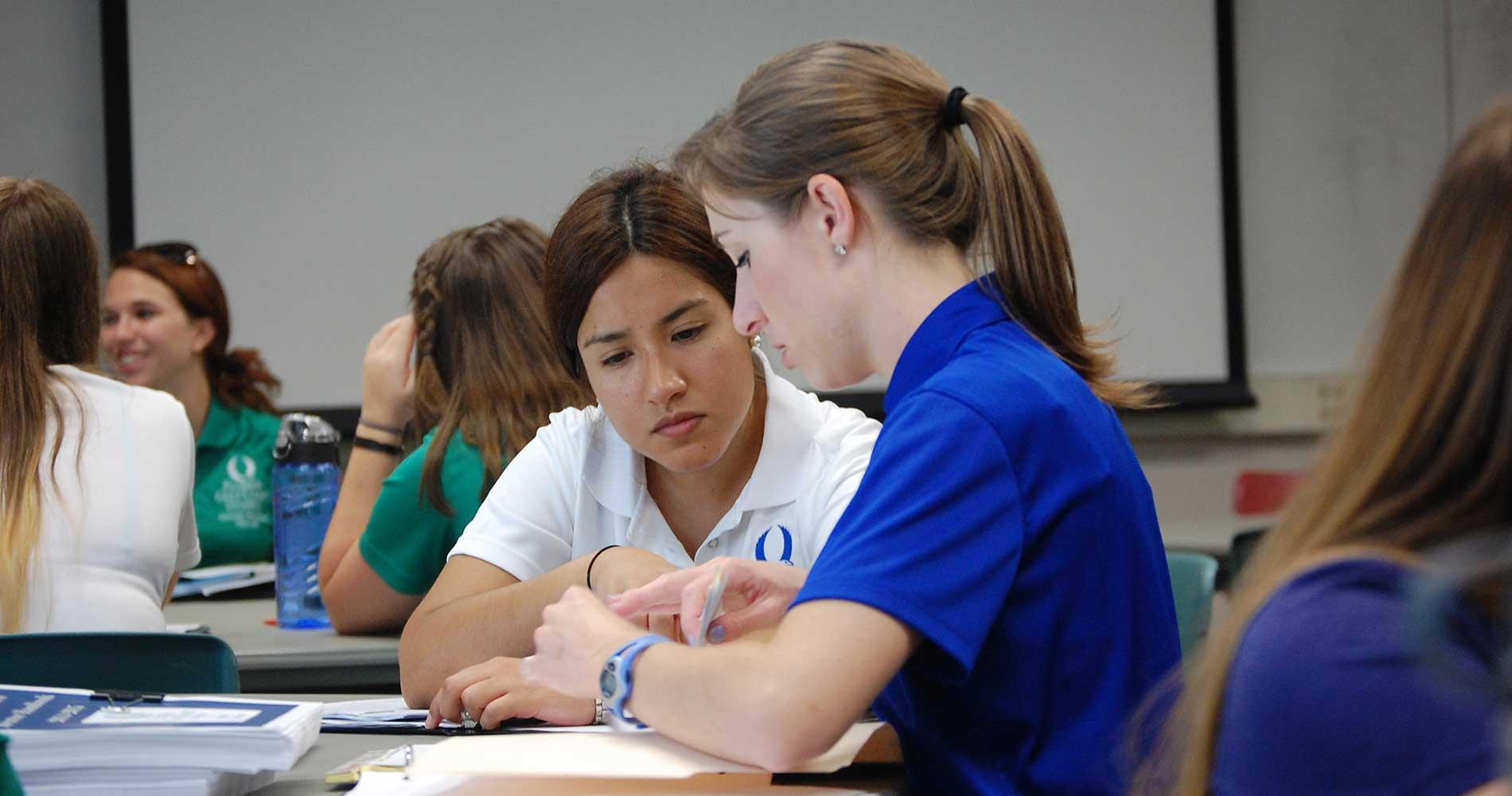 Catherine Gorman mentors a student