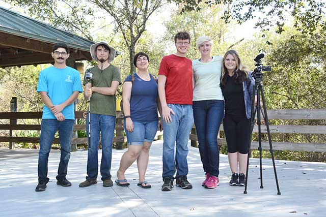 Alex Hibbeln, left, Daniel Berenzy, Silence Dengler, Justin Clark, Victoria Blaine and Krista Sinclair made the film as a civic engagement class project. Photo by Lee County Parks & Recreation