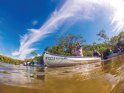 FGCU Students Canoe at Vester Marine Field Station