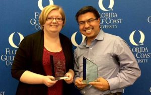 Photo shows an FGCU student and faculty member who collaborated on research