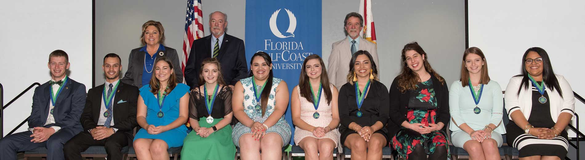 Photos shows students inducted into the FGCU Hall of Fame