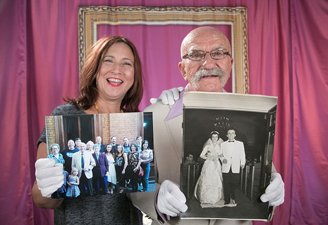 Photo shows family members with photos