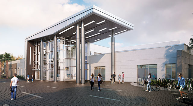 A computer-generated image by Harvard-Jolly Architecture of FGCU's new recreation center.