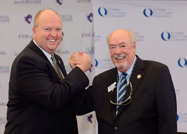 Photo of FSW President Dr. Jeff Allbritten and FGCU President Dr. Michael Martin