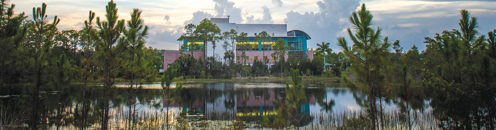 Photo of FGCU Library across the lake