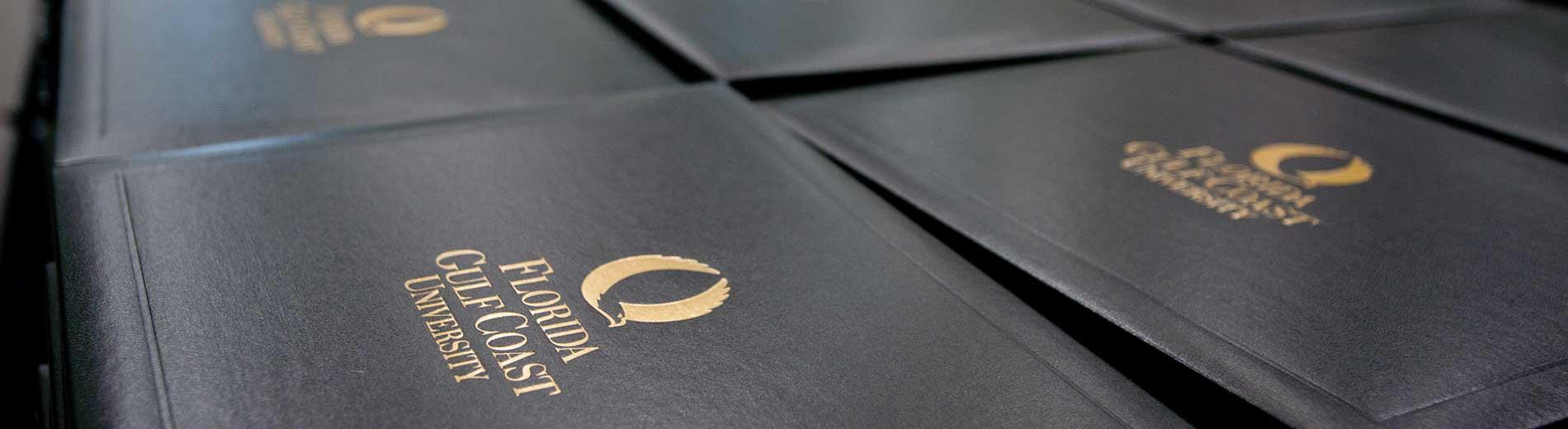Photo shows FGCU diplomas
