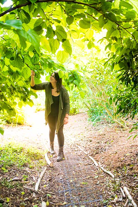 Lori Boegershausen in the Food Forest.