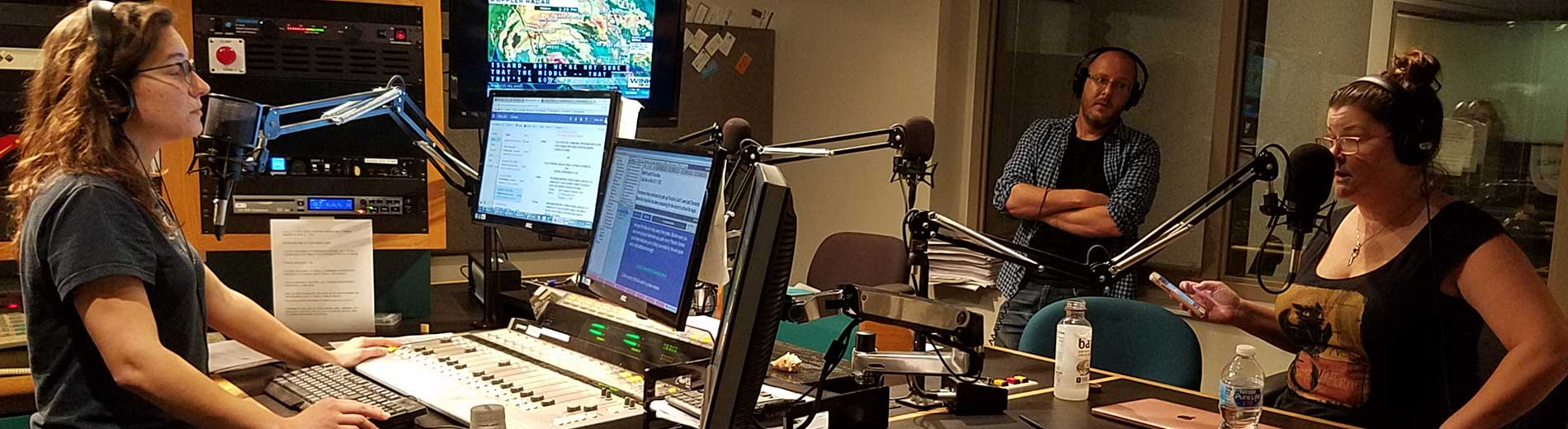 Photo shows WGCU-FM studio