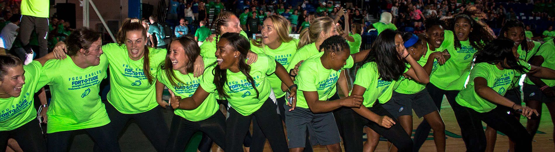 photo shows fgcu athletes celebrating