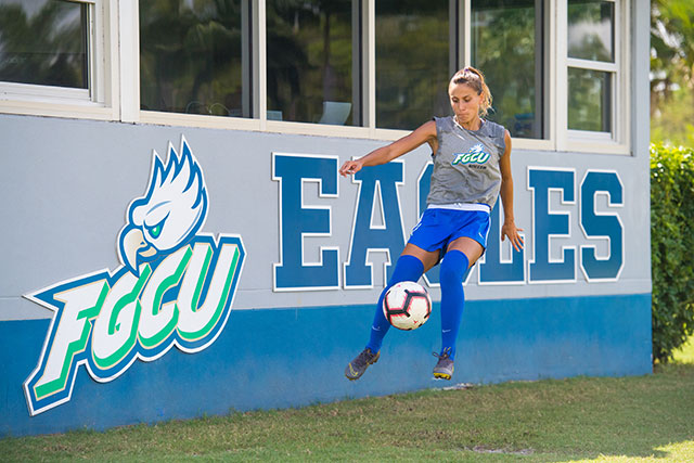 Photo shows FGCU soccer player
