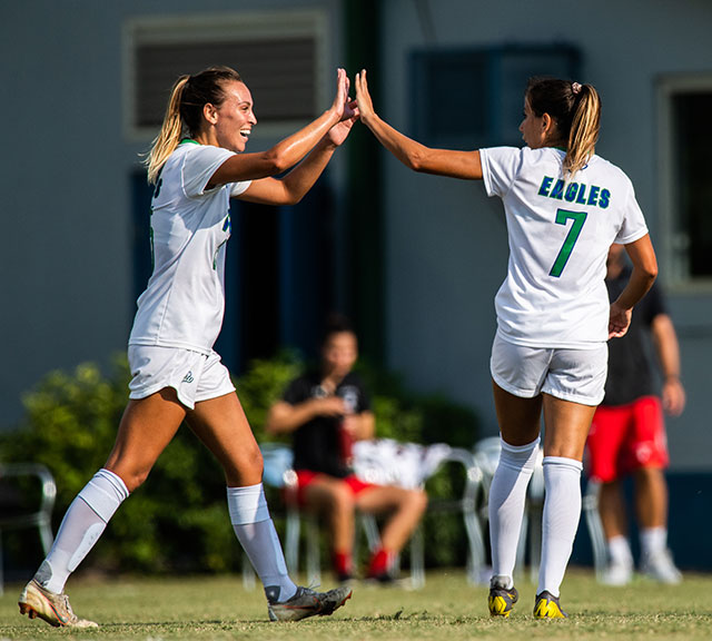 Photo shows FGCU soccer players
