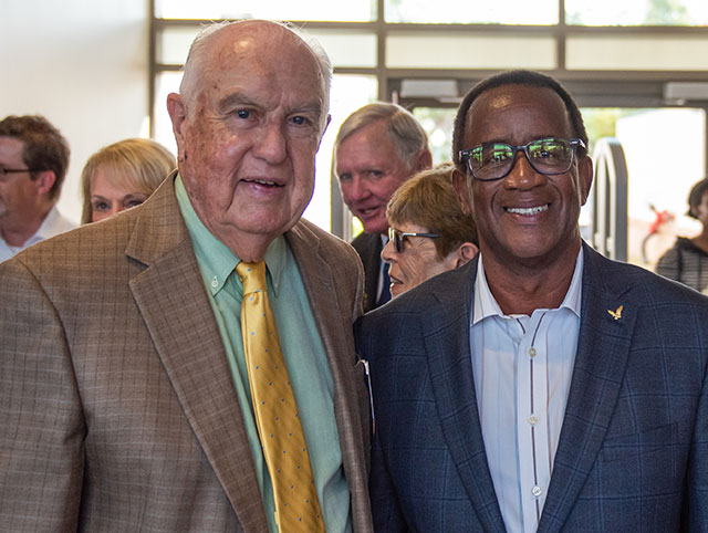 founding FGCU President Roy McTarnaghan joined former President Wilson G. Bradshaw at the library dedication.