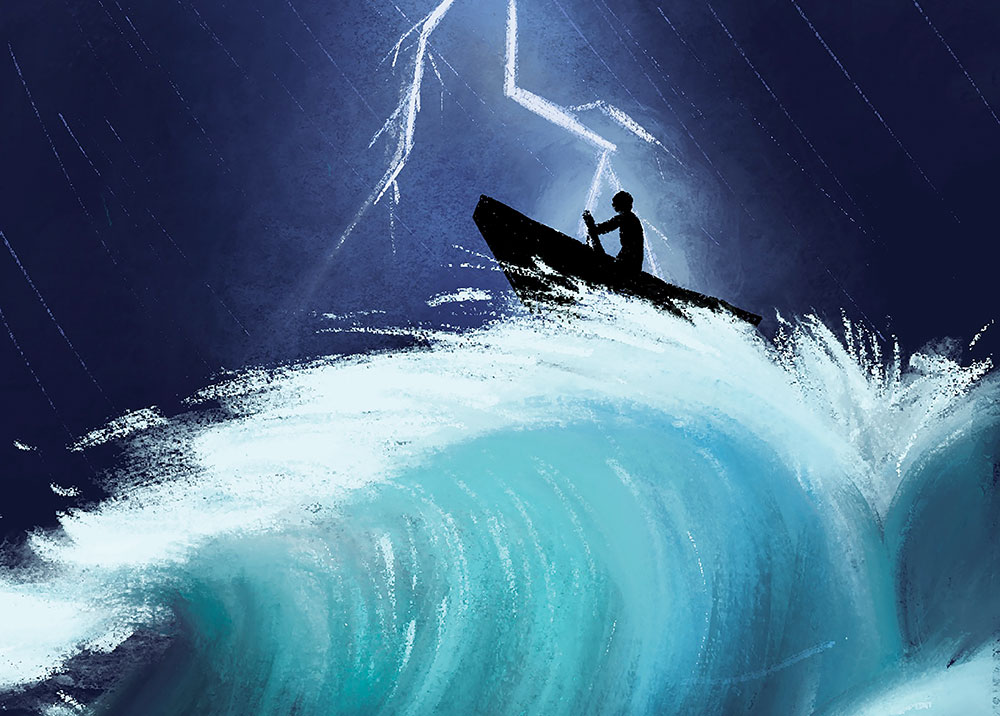 Illustration of man rowing a boat in stormy waters.