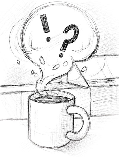 Illustration of steaming cup of coffee.