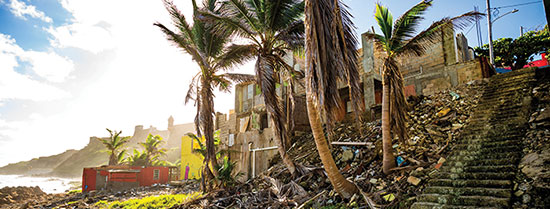Photo of destroyed houses from Hurricane Maria in Puerto Rico.