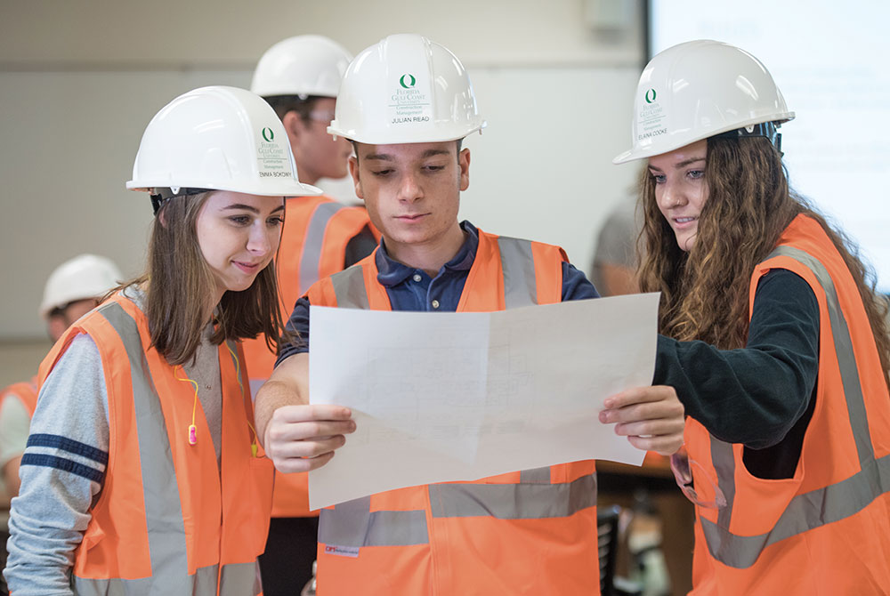 Photo of FGCU Students in the Construction Management program are likely to be in great demand upon graduation.