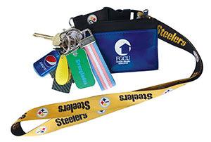 Photo of keys for objects of affection articls - with Pittsburg Steeler lanyard.