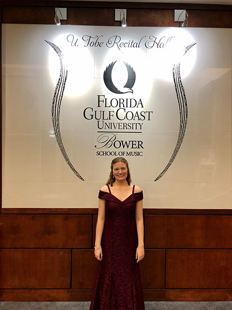 Photo shows FGCU music education student Lisa Hamman