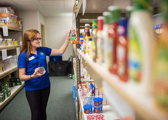 Photo shows campus food pantry