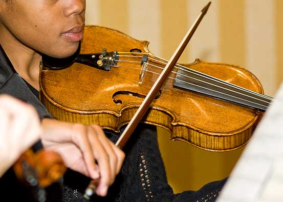 Photo shows violin player