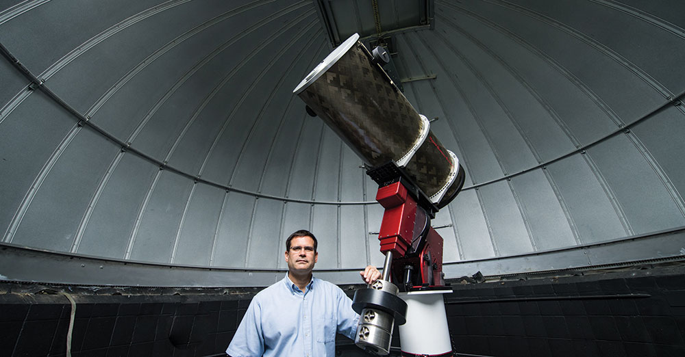 Photo of buzasi in telescope dome.