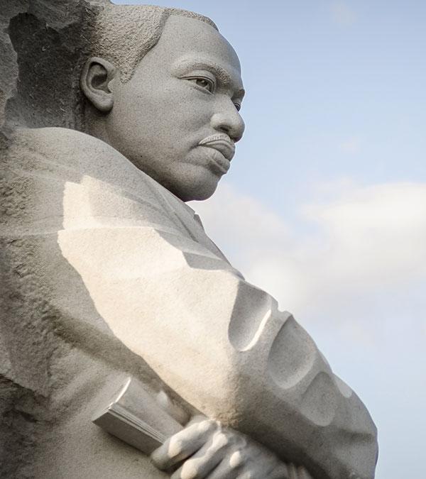 Stone statue of MLK