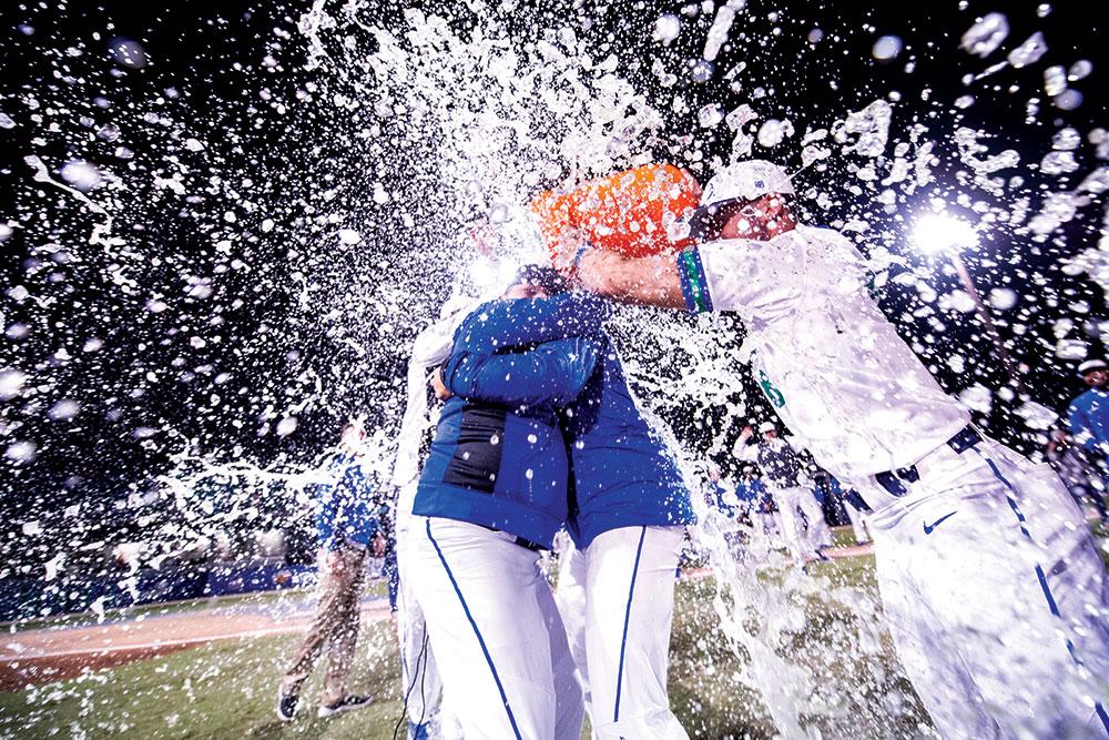 Coach Tollett gets gatoraid bath.