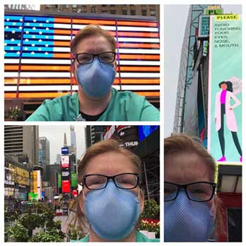 Photo shows nurse in Times Square