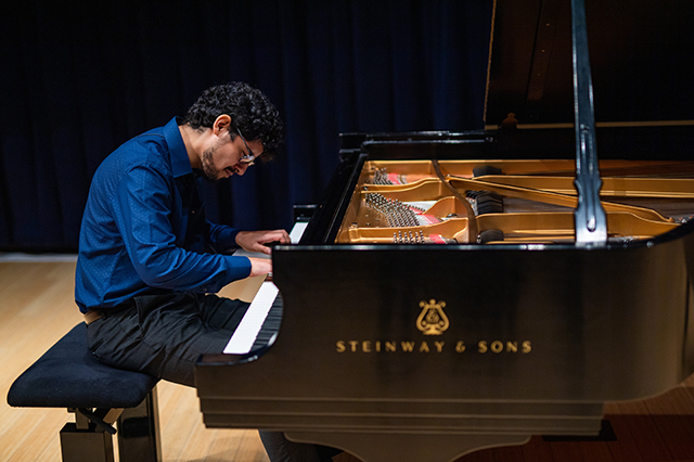 Photo shows FGCU piano student