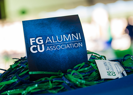 Photo shows FGCU Alumni logo