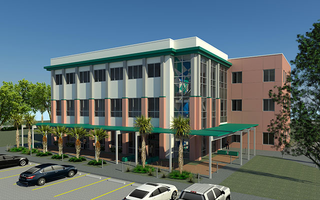 Graphic rendering of building