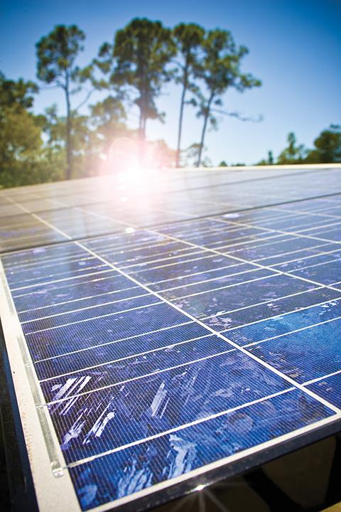 Photo shows solar panels