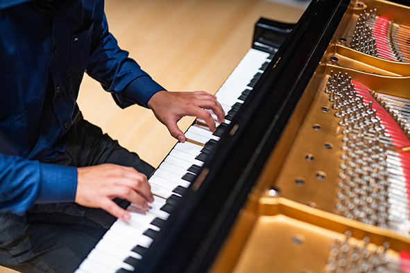 Photo shows piano player