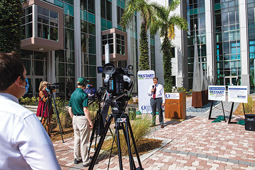 Christopher Westley, dean of the Lutgert College of Business, announces RESTART SWFL initiative.