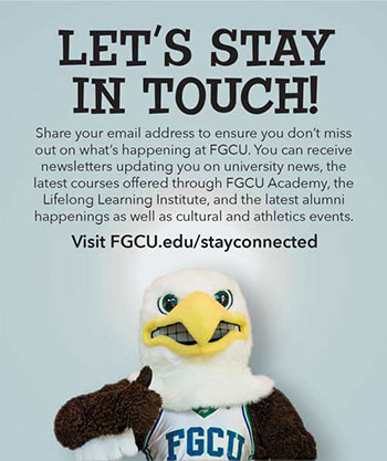 Graphic showing ways to stay connected to FGCU