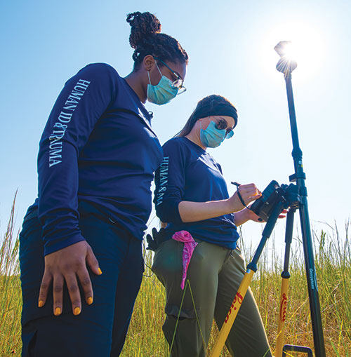 FGCU student researchers measuring and testing the ground.