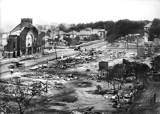 Photo of burned buildings from 1921