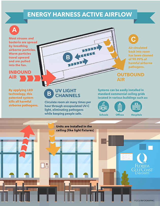 infographic about air-cleaning device