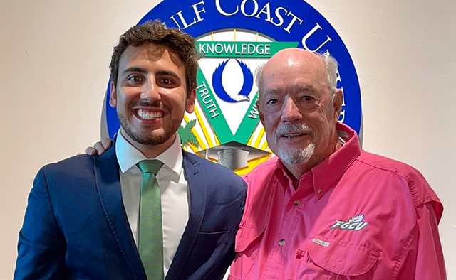 photo shows FGCU student and president
